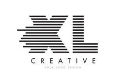 XL X L Zebra Letter Logo Design with Black and White Stripes Royalty Free Stock Image
