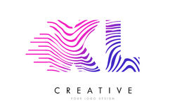 XL X L Zebra Lines Letter Logo Design with Magenta Colors Royalty Free Stock Images