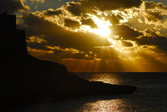 xlendi ηλιοβασιλέματος Στοκ Φωτογραφία