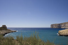 Xlendi bay. Watchtower, Xlendi bay, gozo island Stock Photos