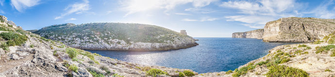 Xlendi fjärd i den Gozo ön, Malta Royaltyfri Fotografi
