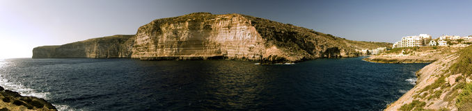 Xlendi view. Panoramic view of the bay of Xlendi, a fishermen's small village in Gozo island Stock Images