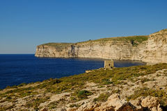 Xlendi Watchtower Gozo, Malta. The ancient Watchtower on the sandstone cliffs at Xlendi on the Island of Gozo, Malta Royalty Free Stock Image