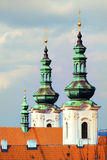 Xlose-up on towers of The Strahov Monastery in Prague Stock Photo