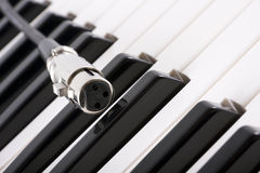 XLR connector on piano Stock Images