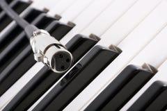 XLR Verbinder auf Klavier stockbilder