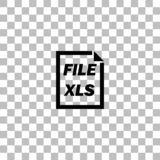 XLS File icon flat. XLS File. Black flat icon on a transparent background. Pictogram for your project stock illustration