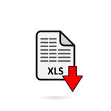 XLS file with red arrow download button on white background.  Stock Photo