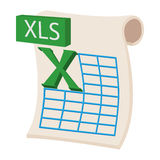 XLS icon, cartoon style. XLS icon in cartoon style on a white background Stock Photography