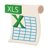 XLS icon, cartoon style. XLS icon in cartoon style on a white background royalty free illustration