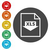 The XLS icon. Color icons set stock illustration