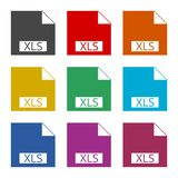 The XLS icon, color icons set. Simple vector icon stock illustration