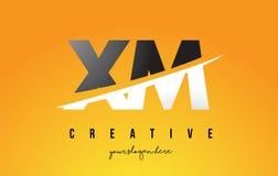 XM X M Letter Modern Logo Design avec le fond jaune et le Swoo illustration libre de droits