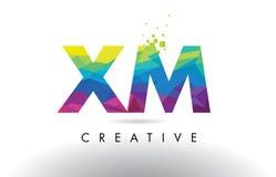 XM vettore di progettazione dei triangoli di X m. Colorful Letter Origami illustrazione di stock