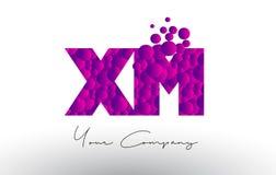 XM X M Dots Letter Logo com textura roxa das bolhas Imagem de Stock Royalty Free