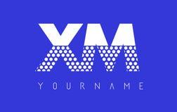 XM X M Dotted Letter Logo Design avec le fond bleu Photographie stock libre de droits