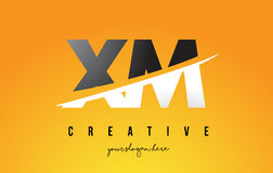XM X M Letter Modern Logo Design with Yellow Background and Swoo Royalty Free Stock Photo