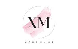 XM X M Watercolor Letter Logo Design con el modelo circular del cepillo Fotografía de archivo libre de regalías