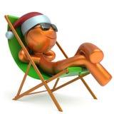 Xmas假期人兴高采烈的字符使变冷的海滩轻便折叠躺椅 向量例证