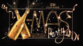 Xmas党与圣诞节deco的邀请卡片反对 向量例证
