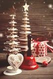 Xmas响铃,蜡烛,冷杉,玩具,红色礼物 库存照片