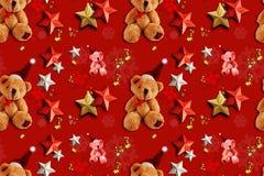Xmas无缝的样式玩具熊 免版税库存照片