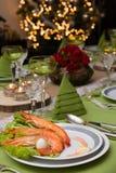 Xmas晚餐和虾开胃菜 库存图片