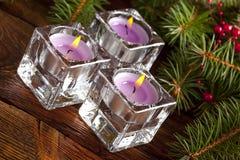 xmas树三个圣诞节蜡烛和分支  免版税库存照片