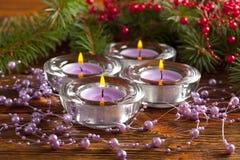 xmas树四个圣诞节蜡烛和分支  免版税库存图片