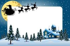 Xmas框架圣诞老人飞行剪影 免版税图库摄影