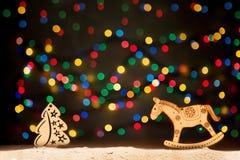 Xmas点燃作为星、圣诞树、马和拷贝空间为 免版税图库摄影