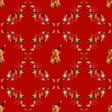 Xmas玩具熊无缝的样式 库存照片