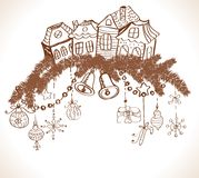 xmas设计的圣诞卡与房子 图库摄影