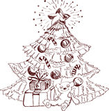 xmas设计的圣诞节手拉的看板卡 图库摄影
