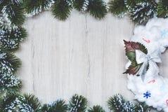 Xmas贺卡,在圣诞树框架的白色圣诞节花圈在木背景分支 图库摄影