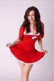xmas женщины costume счастливый красный сексуальный сь стоковое фото rf