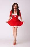 xmas женщины costume шальной красный сексуальный стоковая фотография