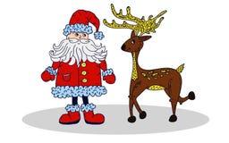 Xmas Санта Клауса и оленей Бесплатная Иллюстрация