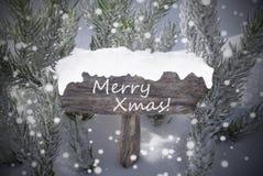 Xmas текста ели снежинок знака веселый Стоковые Изображения
