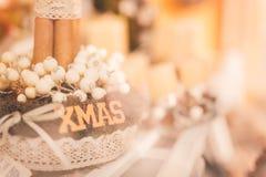 Xmas -圣诞节wreat温暖的口气 免版税库存照片