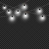 圣诞灯电灯泡 一套白光和装饰对象 白色xmas发光的诗歌选,自创 传染媒介,被隔绝 向量例证