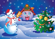 Xmas. Xmas illustration with snowman,tree and happy house Royalty Free Stock Images