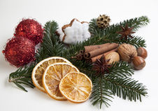 Xmas. Still life on white background royalty free stock photography