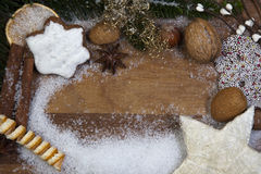 Xmas. Still life with snow flakes royalty free stock image