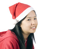 Xmas-3. Beautiful girl in christmas clothes with white background Royalty Free Stock Photo