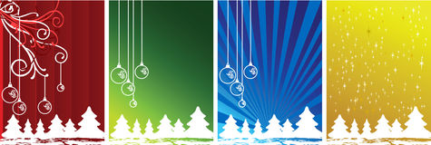 Xmas. Four color Winter Christmas banners with trees, snow and flakes Royalty Free Stock Photo