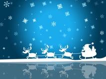 Xmas圣诞老人表明父亲圣诞节和弗罗斯特 图库摄影