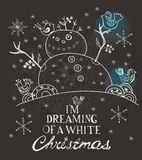 xmas设计的圣诞卡与手拉的雪人和鸟 库存照片
