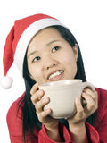 Xmas-5. Beautiful girl in christmas clothes with cup of coffee or drink Stock Photos