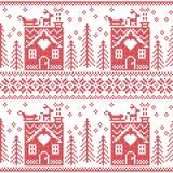 斯堪的纳维亚北欧与华而不实的屋,雪,驯鹿,圣诞老人的雪橇,树,星,雪, Xmas g的圣诞节无缝的样式 免版税库存图片
